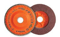 Flap disc for cool cut on stainless and fast cut on aluminum