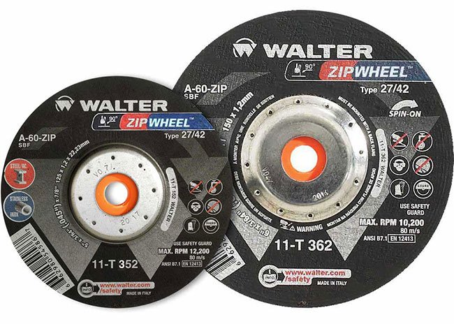 3//64 Thick 5 Diameter Walter Zip Spin-On High Performance Cutoff Wheel Pack of 25 Threaded Hole 5//8-11 Arbor Type 27 Grit A-60-ZIP Aluminum Oxide